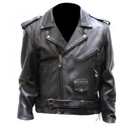 Chaqueta Clasica de motocicletas cuero extra grueso y suave / estilo rockero