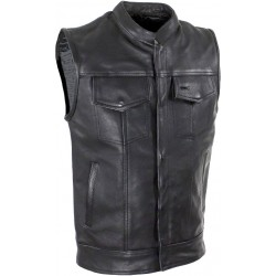 Chaleco de Cuero para moto Cierre frontal y broches forro Rojo o Negro
